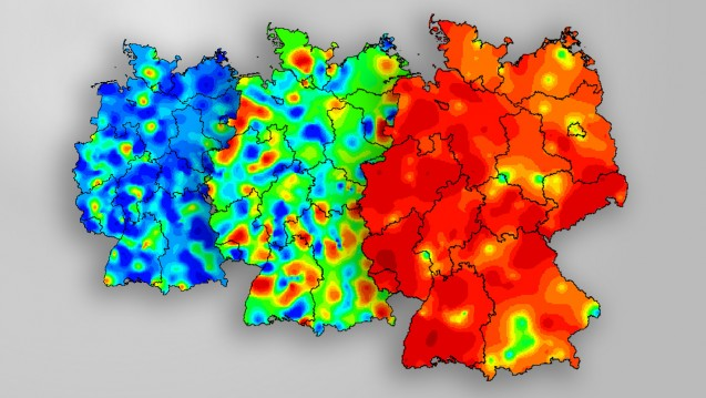 Grippeland Deutschland: Die insgesamt in der aktuellen Grippesaison 2017/18 bestätigte Influenzaerkrankungen stiegen von 6.433 (KW 2) über 37.075 (KW 5) auf aktuell 119.533 (KW 8). (Karte:Aktivität akuter respiratorischer Erkrankungen in Deutschland (ARE-Aktivität) in KW 2, 5 und 8 / RKI | Montage: DAZ.online)