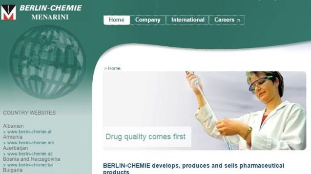 Die Berlin Chemie ruft einen Chargenrückruf von Isotone Natriumchlorid-Lösung 0,9 % BC zurück. (Screenshot: Website)