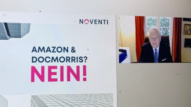 Was ist die Antwort auf Amazon und DocMorris? Hermann Sommer erläuterte beim digitalen Kooperationsgipfel, wie Noventi und Phoenix sich diese Antwort vorstellen. (x / Foto: DAZ.online)
