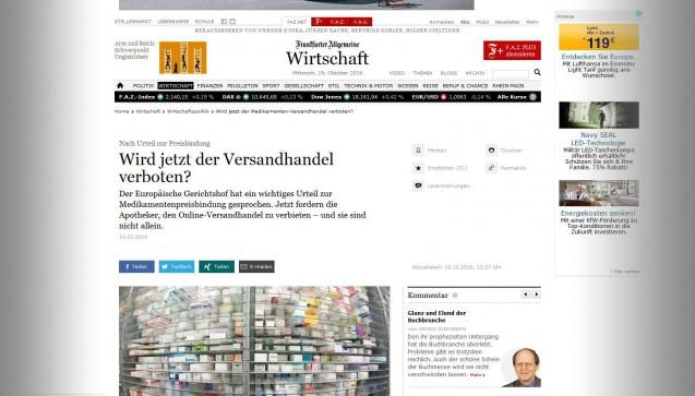 """Der Frage, ob nun der Rx-Versandhandel ganz verboten wird, widmet sich die Website der """"Frankfurter Allgemeinen Zeitung"""" unter faz.net. Nicht nur die Apotheker fordern diese Konsequenz, die FAZ führt auch die Wettbewerbszentrale (deren Verfahren gegen die Deutsche Parkinson Vereinigung das Urteil hervorbrachte) und den CDU-Gesundheitspolitiker Michael Hennrich an. Letzterer hatte die Einführung des Versandhandels als """"Grundfehler"""" bezeichnet, über dessen Korrektur man nachdenken müsse. Die FAZ führt aber auch die Möglichkeit der kompletten Preisfreigabe an, was der Argumentation Szpunars folge – und der von Doc Morris."""