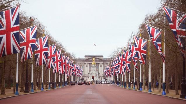 Das Vereinigte Königreich tritt am morgigen Samstag aus der EU aus. Auf der Straße vor dem Buckingham Palace in London wurden Union Jacks aufgehängt. (Foto: imago images / ZA Images)