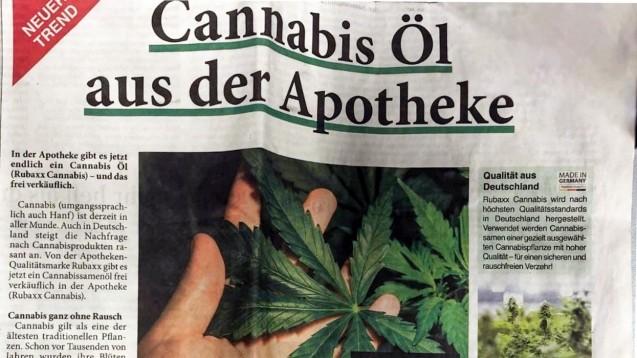 """""""RubaXX Cannabis"""" wird als Nahrungsergänzungsmittel in Apotheken vertrieben und in der Presse groß beworben. (s / Foto: DAZ.online)"""