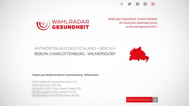 """Die ABDA setzt auch zur Bundestagswahl am 26. September 2021 auf den """"Wahlradar Gesundheit"""". (Screenshot: wahlradar-gesundheit.de / DAZ)"""