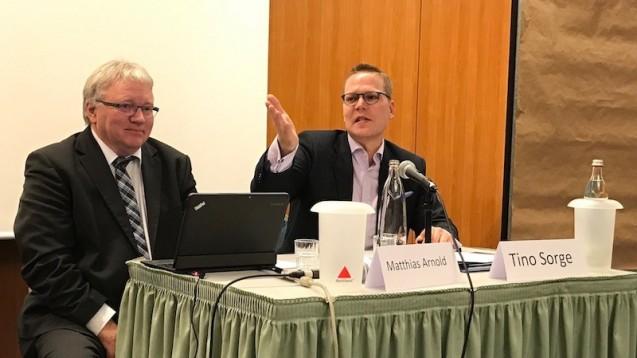 Mathias Arnold, ABDA-Vize und Vorsitzender des Landesapothekerverbands Sachsen-Anhalt, hatte Tino Sorge (CDU) zur Diskussion mit Apothekern eingeladen. (Foto: LAV Sachsen-Anhalt)