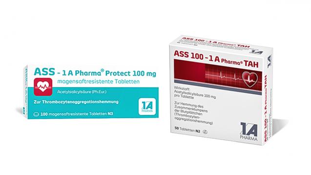 1 A Pharma: Links das neue Design von ASS protect, rechts das alte von ASS. (Foto: 1 A Pharma / Montage DAZ.online)