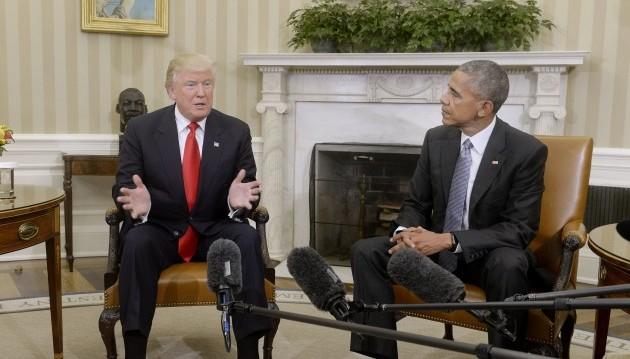 11.11.2016 – Die Kurse stiegen nach der Wahl des zukünftigen Präsidenten Donald Trump– hier bei einem ersten Gespräch mit seinem Vorgänger Barack Obama im Weißen Haus. (Foto: dpa)