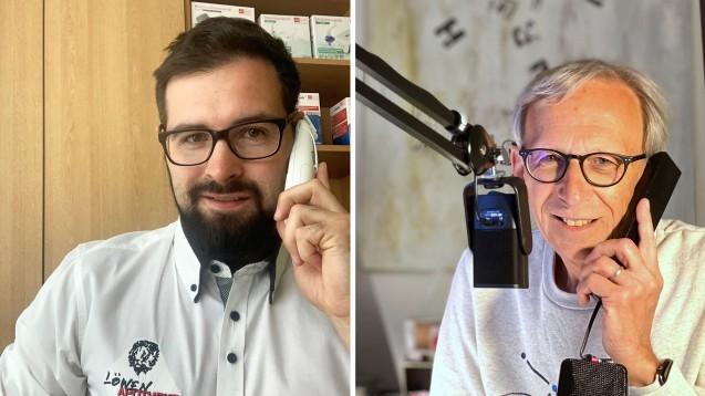 Peter Ditzel (r.) hatmit Apotheker Daniel Mädler über die Maskenpflicht in Sachsen gesprochen. ( r / Foto: diz)