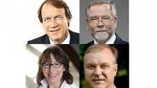 Trotzdem mit FDP verhandeln: Obwohl die FDP die Aufhebung des Fremd- und Mehrbesitzverbotes ins Spiel bringt, wollen die Kammer- und Verbandschefs aus Nordrhein-Westfalen (Thomas Preis, Lutz Engelen, Gabriele Regina Overwiening und Klaus Michels - von oben links nach unten rechts) mit den Liberalen verhandeln. (Grafik: DAZ.online)