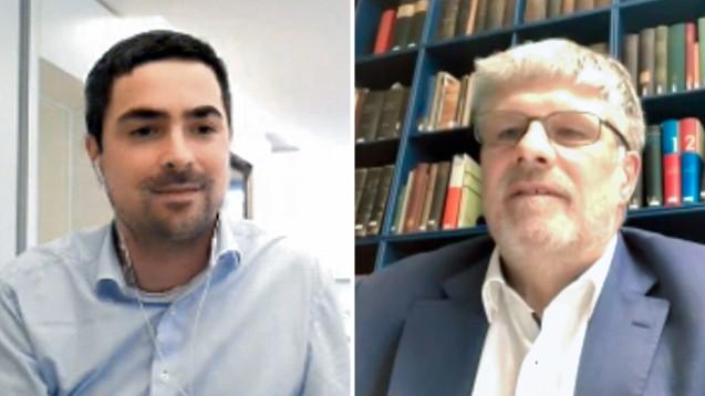 Im Online-Live-Talk stellte sich Thomas Dittrich (rechts) den Fragen von DAZ-Chefredakteur Dr. Armin Edalat. (Screenshot: DAZ.online)