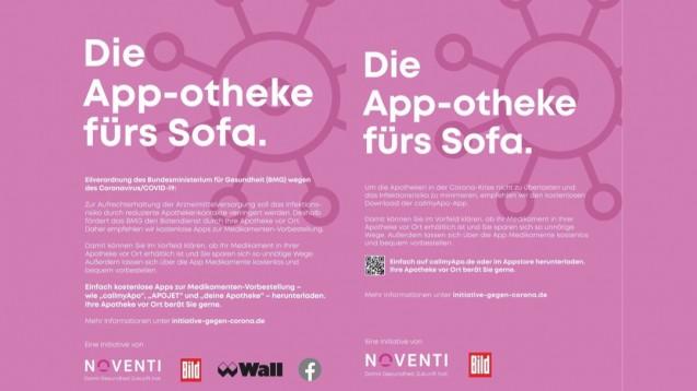 Noventi wirbt nun auch für einige Konkurenzapps. Das neue (links) und das alte (rechts) Plakatmotiv im Vergleich. (c / Foto: Initiative gegen Corona)