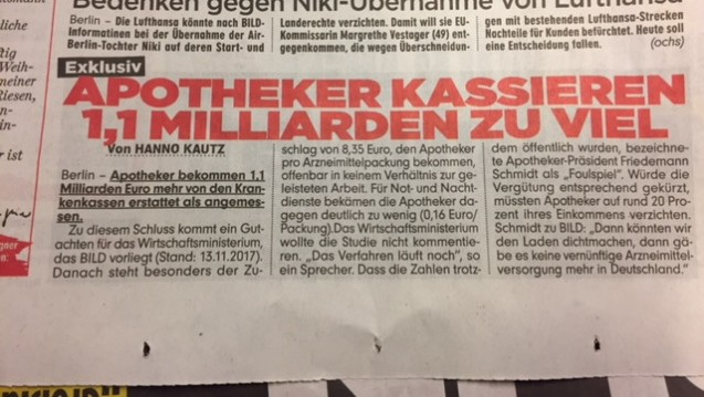 Gutachten-Leak: Einem Bericht der Bild-Zeitung zufolge ist das Apothekenhonorar zu hoch angesetzt. (Foto: DAZ)