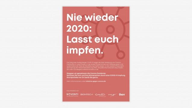 Noventi startet eine deutschlandweite Plakat-Kampagne in Apotheken, um die Impfbereitschaft zu erhöhen. (m / Grafik: Noventi)