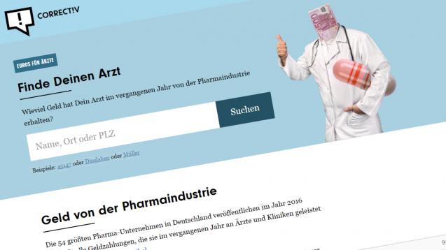 Für jedermann: In der neuen Datenbank sind Zahlungen von Pharmafirmen an Ärzte oder auch Apotheker aufgeführt. (Foto: Screenshot)