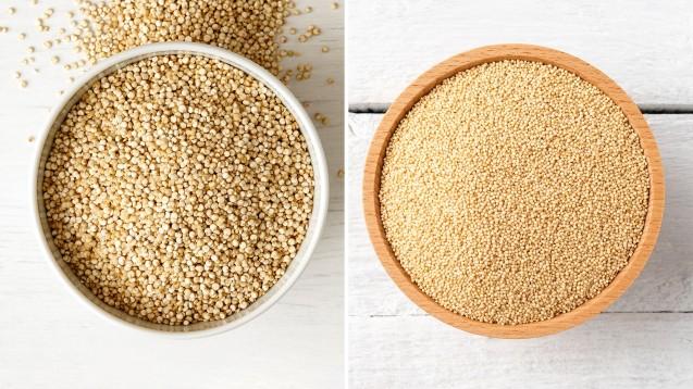 Quinoa ist etwas gröber, Amaranth feinkörniger – beide gehören in die Gruppe der Pseudogetreide. (Foto: Moving Moment | One Pixel Studio / stock.adobe.com)
