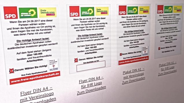 Auf www.freie-apothekerschaft.de sind die Flyer und Plakate bereits sichtbar. (Screenshot: Freie Apothekerschaft)
