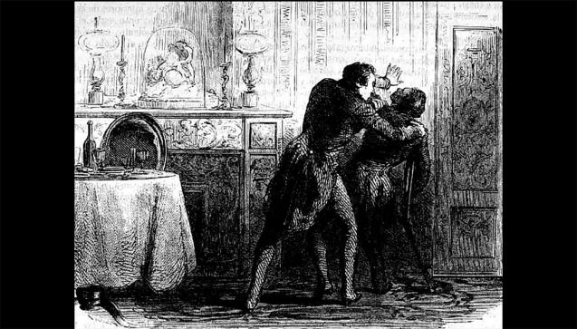 """Nur indirekt beteiligt? Im November 1850 verstarb auf Schloss Bury der vermögende Apothekersohn GustaveFougniesnach einem Abendessen bei seiner Schwester Lydie und ihrem verarmten Ehemann, dem Grafen HippolyteVisartdeBocarmé. Nach wochenlanger Untersuchung der Organe des Opfers, wurde schließlich Nicotin als Mordwaffe identifiziert. 1851 wurde Graf Bocarmé hingerichtet, während seine Frau von der Mittäterschaft freigesprochen wurde. Mithilfe ihres Verteidigers konnte sie vor Gericht glaubhaft darlegen, dass sie von ihrem Vater, einem Apotheker, zwar Giftkenntnisse erworben hatte, dass die Mordtat an ihrem Bruder jedoch von ihrem Mann allein geplant und ausgeführt worden war. Lesen Sie hier mehr über Giftmorde und Meilensteine der forensischen Toxikologie(Bild: """"Mord an GustaveFougnies"""" gemeinfrei / Wikipedia)"""