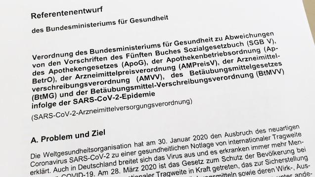 Das Bundesgesundheitsministerium hat die nächste Eil-Verordnung nach dem Bevölkerungsschutzgesetz vorgelegt. (b/Foto: DAZ.online)