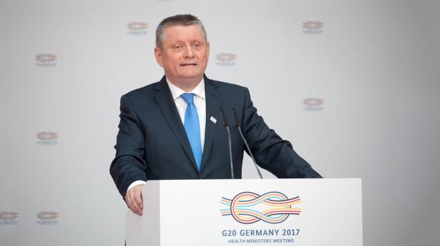 Bundesgesundheitsminister Hermann Gröhe (CDU) beim G20-Gesundheitsministertreffen im Mai in Berlin. (Foto: dpa)