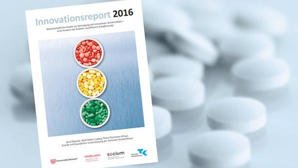 Der neue Innovationsreport der TK: Die Herausgeber sind von der Innovationskraft der Pharmaunternehmen nicht überzeugt. (Bild: TK)