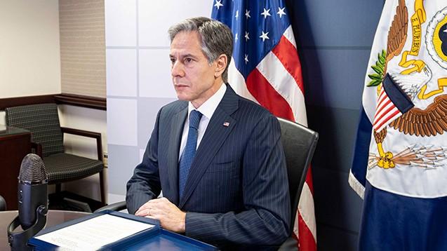 US-Außenminister Antony Blinken sichert dem UN-Sicherheitsrat die Zahlung der WHO-Gelder zu. (Foto: IMGAO / ZUMA Wire)