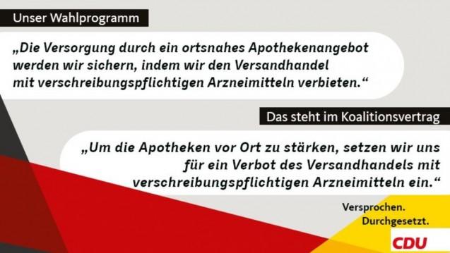 Bundesgesundheitsminister Hermann Gröhe (CDU) wirbt derzeit mit mehreren PR-Werbepostings für die gesundheitspolitischen Errungenschaften seiner Partei im Koalitionsvertrag, darunter auch das Rx-Versandverbot. (Foto: Gröhe / CDU)