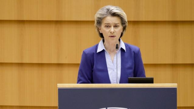 EU-Kommissionschefin Ursula von der Leyen bei einer Rede vor dem Europäischen Parlament am 10. Februar 2021. (s / Foto: IMAGO / Le Pictorium)