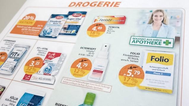 """""""Bekannt aus Ihrer Apotheke"""": Die Drogeriekette Müller startet derzeit eine neue Offensive im Apotheken-Sortiment. (Foto: DAZ.online)"""