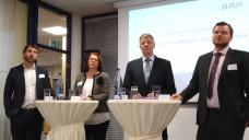 Mathias Hevert (Geschäftsführer von Hevert-Arzneimittel), Antje Lezius (MdB CDU), Hermann Kortland (stellvertretender Hauptgeschäftsführer des BAH), Simon Tetzner (Wirtschaftsforschungsinstitut WifOR) (v.l.n.r.) bei der BAH-Regionalkonferenz.