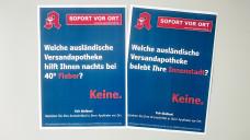 Wegen eines Plakates, das so ähnlich aussieht wie diese beiden PR-Poster, hat DocMorris den Großhändler Noweda abgemahnt. (Foto DAZ.online)