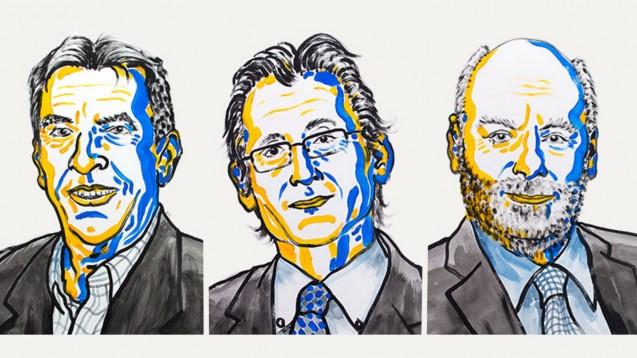 Die diesjährigen Chemie-Nobelpreisträger: Jean-Pierre Sauvage, Bernard L. Feringa und Sir J. Fraser Stoddart. (Ill: N. Elmehed / Nobel Media 2016)