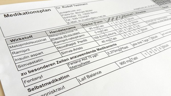 Der Medikationsplan steht