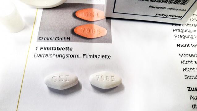 Gefälschte Packungen mit weißen statt gelben Tablettendes Hepatitis-C-Mittels Harvoni sorgten in den letzten Monaten für Aufsehen. (Foto: BfArM)