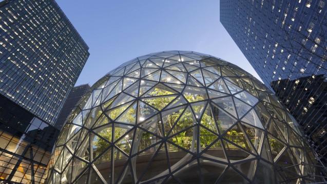 Der US-Handelskonzern Amazon (hier die Konzernzentrale in Seattle) will gemeinsam mit zwei anderen Konzernen eine eigene Krankenversicherung aufbauen. (Foto: Picture Alliance)