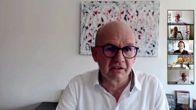 SBK-Chef Hans Unterhuber ist vom Hotline-Konzept der Gematik zum E-Rezept nicht überzeugt. (c / Screenshot: https://scanacs.de/e-rezept-welcome-party)