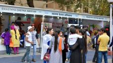 Health Camp nahe des Ausstellungsgeländes Pragati Maidan in Delhi, 15. November 2015. (Quelle: Ministry of Health, India)