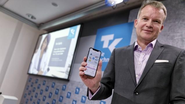 TK-Chef Jens Baas bei der Vorstellung der TK-Gesundheitsakte. (Foto: Imago)