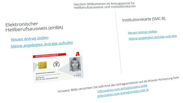 Apotheker können bei einem qualifizierten Vertrauensdiensteanbieter (qVDA) der eigenen Wahl den HBA in Auftrag geben. (Screenshot: https://ehealth.d-trust.net)
