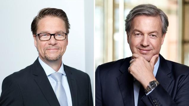 Frank Hennings, Vorstand Handel bei Sanacorp, und Andreas Arntzen, Geschäftsführer des Wort & Bild Verlags, gaben heute die Übernahme des digitalen Shop-SystemsCuracado durch Sanacorp bekannt. (x / Fotos: Sanacorp/Wort & Bild Verlag)