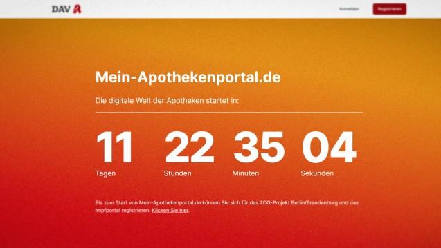 Der Countdown läuft. (Quelle: mein-apothekenportal.de   Screenshot: DAZ.online)