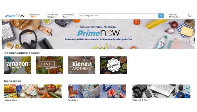 Bestellt werden kann über die Amazon-Prime Now-Website ...