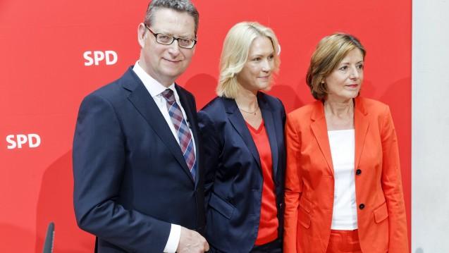 Thorsten Schäfer-Gümbel, Manuela Schweig und Malu Dreyer sind das provisorische Spitzen-Trio der SPD. (Foto: imago images)
