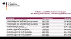 Die aktualisierte List des BfArM zu den ruhenden Zulassungen ist veröffentlicht. (Screen: BfArM)
