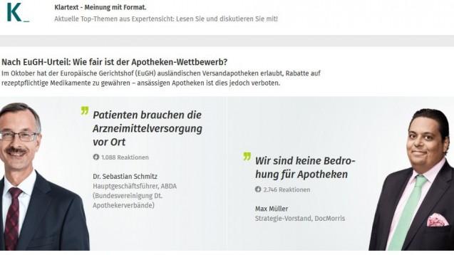Neuartige Internet-Diskussion: Im Business-Netzwerk Xing präsentieren die ABDA und DocMorris ihre Thesen für das weitere Vorgehen nach dem EuGH-Urteil, die Leser dürfen abstimmen. (Screenshot: DAZ.online)