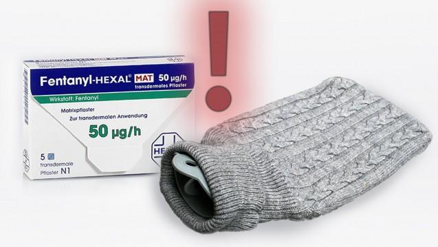 Fentanylpflaster und Wärme – Wärmflaschen, heiße WhirlpoolsundSaunen sind tabu. (Foto Wärmflasche: jeepbabes / stock.adobe.com | Packshot: Hexal)