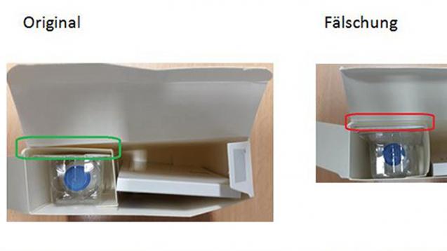 Bei dem gegen multiples Myelom zugelassenen KrebsmittelVelcade wurde unter anderem die Verpackung gefälscht. Das Fach für die Durchstechflasche ist im Original nicht vollständig verklebt. (Foto: BfArM / Hersteller)