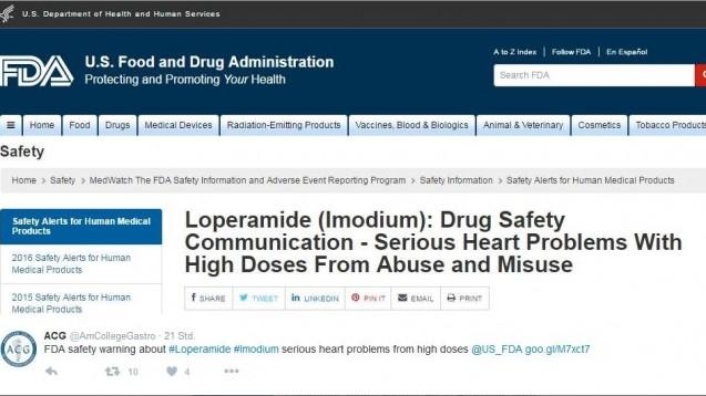 Fachgesellschaften twittern die Warnung der FDA. (Foto: Screenshot / DAZ.online)