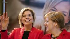 Rheinland-Pfalz: Wird es reichen für Spitzenkandidatin Julia Klöckner? Bei einem Wahlkampfauftritt mit Bundeskanzlerin Angela Merkel in Bad Neuenahr gab sie sich zuversichtlich. (Foto: Thomas Frey / dpa)