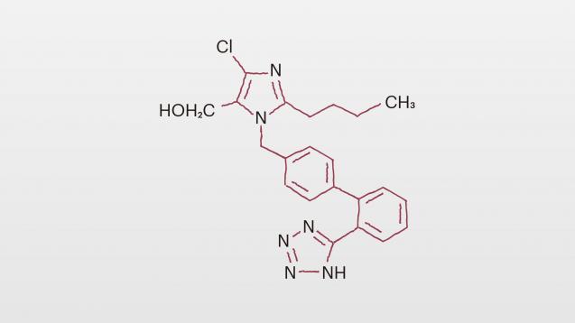Losartan enthält teils die gleichen Strukturelemente wie Valsartan und Candesartan.