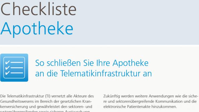 Die Gematik hat auf ihrer Internetseite erstmals eine Checkliste für Apotheker zur TI-Anbindung veröffentlicht. (Foto: Gematik/DAZ.online)
