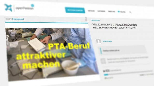 PTA Martin Seipt findet den Gesetzentwurf zur Reform des PTA-Berufes indiskutabel, er hat beiopenpetition.org eine Petition für eine Verlängerung der Ausbildung und eine Weiterentwicklung des PTA-Berufes eingereicht. (r/ScreenshotopenPetition)